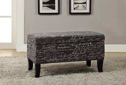FurnitureMaxx Stephanie Grey Linen with Script Storage Ottoman