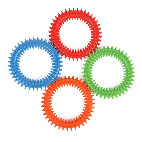 (Silicone Spiky Sensory Toy Rings (4-Pack) Tactile Fidget Gadget | Quiet, Fidgeting and ADHD Support | Colorful, Stimulating Massage | Toddler, Youth Friendly Sensory Motor Aid)