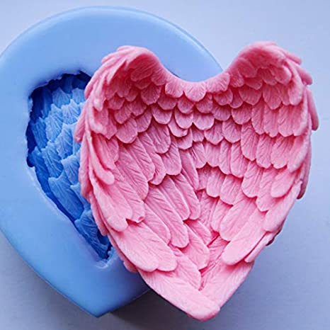 Angel Wings Soap Molds,Runloo Wings Fondant Silicone Cake Molds Handmade Chocolate Making for Love Heart Gift Aroma Candle Mould