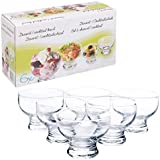 Set of 6 Short Stemmed Glass Dessert Sundae Icecream Cocktail Bowl by EG Homeware