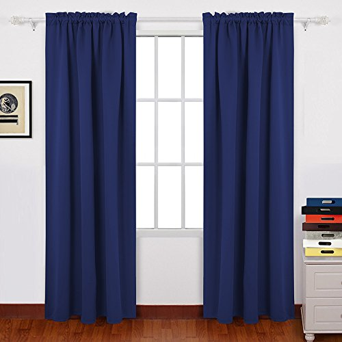 Noise Reducing Thermal Insulated Blackout Window Curtains Three Pass Microfiber Rod Pocket Top Blackout Window Drapes (2 Panels, 42 x 63 Inch, Navy Blue) Review
