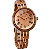 JORD Wooden Wrist Watches for Women - Cassia Series / Wood and Metal Watch Band / Wood Bezel / Analog Quartz Movement - Includes Wood Watch Box (Walnut & Vintage Rose)