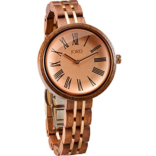 (JORD Wooden Wrist Watches for Women - Cassia Series/Wood and Metal Watch Band/Wood Bezel/Analog Quartz Movement - Includes Watch Box (Walnut & Vintage Rose))