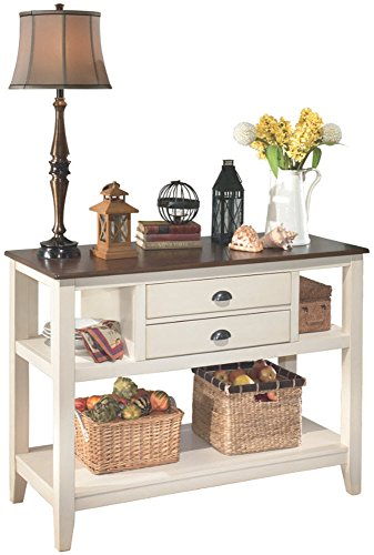 Dining Room Wide Cabinet - Ashley Furniture Signature Design - Whitesburg Dining Room Server - 2 Drawers and 2 Cubbies - Vintage Casual - Brown/Cottage White