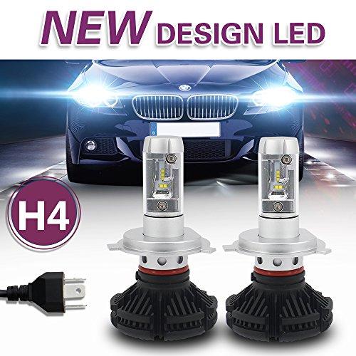 Jiuguang 9005/9006/H4/H11 LED Headlight Bulbs X3 Version ZES Chip 2nd Generation -50W 12000LM/pair IP68 200m Range Hi/Lo Beam (H4, Black)