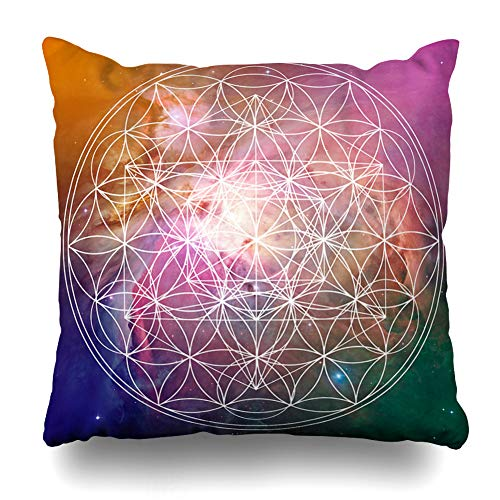 - Ahawoso Throw Pillow Cover Pillowcase Power Activation Flower Life Metatron Sacred Geometry Art On Abstract Alchemy Chakra Channel Circle Cube Design Home Decor Square 18x18 Zipper Cushion Case