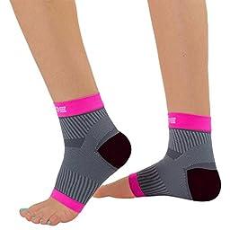 Ultimate Plantar Fasciitis Compression Sleeves (pair) - Relieve Plantar Fasciitis Pain, Arch Support - Lightweight Brace, Foot Sleeve, Open Toe (L/XL, Neon Pink/Grey)