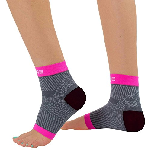 Ultimate Plantar Fasciitis Compression Sleeves (pair) – Relieve Plantar Fasciitis Pain, Arch Support – Lightweight Brace, Foot Sleeve, Open Toe (S/M, Neon Pink/Grey)