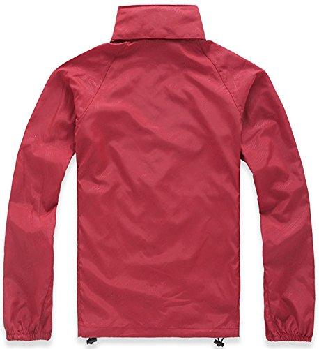 Mochoose Mujer Súper Ligera Impermeable Chaqueta con Capucha al Aire Libre Seco Rápido Cortavientos Impermeable UV Proteger el Escudo de la Piel Rojo
