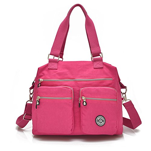 Nylon Crossbody Tote Handbags for Women Leisure Lightweight Messenger Bag Shoulder Bag with Lots of Pockets (Red Rose)