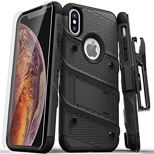 ZIZO Bolt Series iPhone Xs Max case Military Grade Drop Tested with Tempered Glass Screen Protector, Holster, Kickstand Black/Black