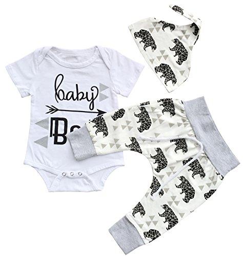 JUSUN 3PCS Baby Boys Girls Short Sleeve Romper+Pants+Hat Outfits Set Clothes