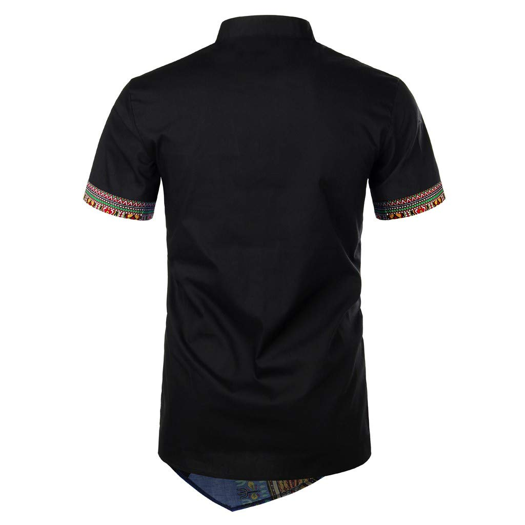 Emerayo Men Summer Bohe Short Sleeve Basic T Shirt Blouse Fit Slim Top