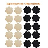 NippleCovers, Disposable Breast Pasties Adhesive Bra Petal Tops Nippleless Cover (Black 10 Pairs + Beige 10 Pairs)