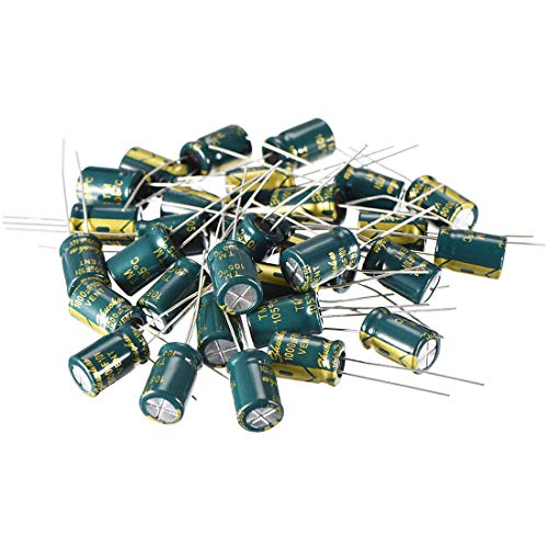 uxcell Aluminum Radial Electrolytic Capacitor Low ESR Green with 1000UF 10V 105 Celsius Life 3000H 8 x 12 mm High Ripple Current,Low Impedance 30pcs ()