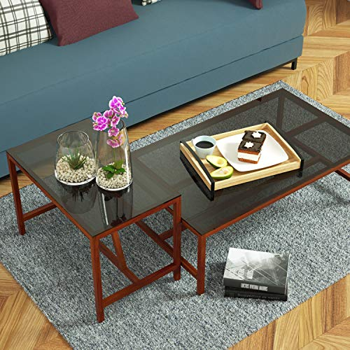 Love-KANKEI Wood Serving Tray with Metal Handle - Rectangle Breakfast Tray for Bed Ottoman Dinner Party 16 x 12 inch by Love-KANKEI (Image #3)