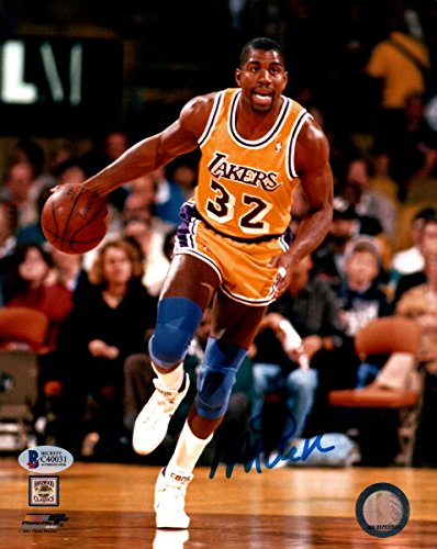 Magic Johnson Signed Autographed 8X10 Photo Lakers Action Dribbling Low Beckett
