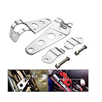 DLLL Universal Motorcycle Motorbike Streetfighter Headlight Headlamp Brackets Chrome