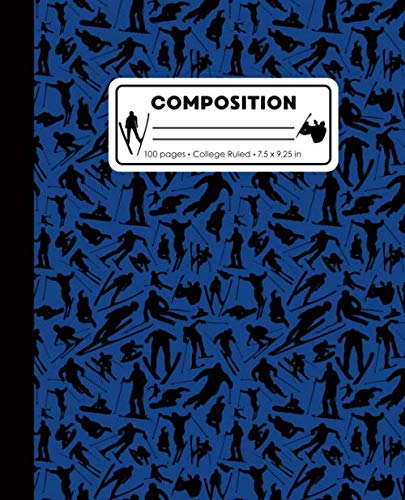(Composition: College Ruled Writing Notebook, Blue Ski Snowboard Boy Pattern Marbled Blank Lined Book)