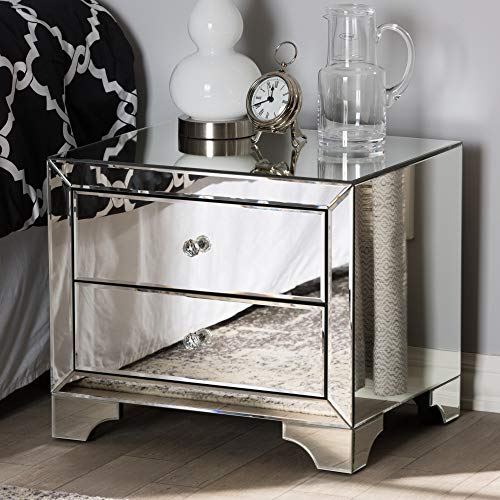 Baxton Studio Farrah Mirrored 2 Drawer Nightstand in Silver