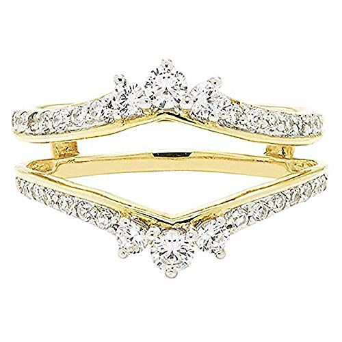 14K Yellow Gold Plated 5/8ct Brilliant Cut Created Simulated Diamonds Solitaire Enhancer Ring Guard Wrap 925 Sterling Silver