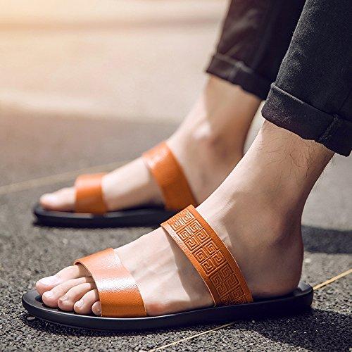 Xing Lin Sandalias De Hombre Flip-Flops Verano Hombre De Inglaterra Sandalias Clip Nuevo Cool Antideslizante Sandalias Zapatos Tendencia 40 Palabra Brown