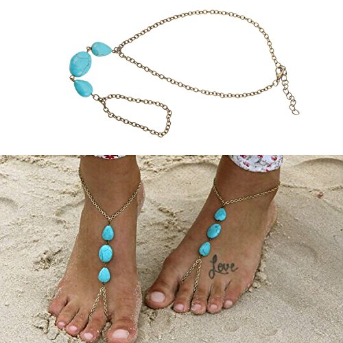 Oriental Style Jewelry of 1PC Anklet With Turquoise Beads Pearls Connected To Bronze Colored Toes Ring