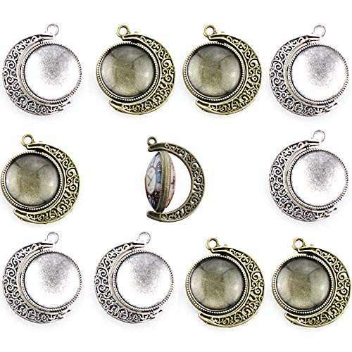 Ginooars Pack of 10 Sets 18mm Moon Shape Rotation Double Sides Round Cabochon Pendant Trays with 20 pcs Glass Cabs