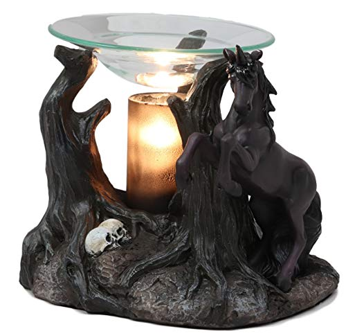(Ebros Fantasy Black Macabre Unicorn by Graveyard of Skulls Electric Oil Burner Tart Warmer Aroma Scent Statue Long Home Fragrance Decorative Skull Unicorns Accessory Figurine)