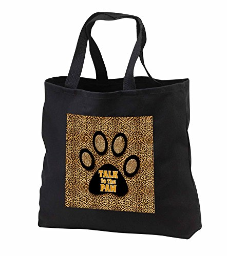 Doreen Erhardt Animal Print Collection - Cheetah Print in Golden Hues with Talk to the Paw Cat Print - Tote Bags - Black Tote Bag JUMBO 20w x 15h x 5d (tb_240081_3)