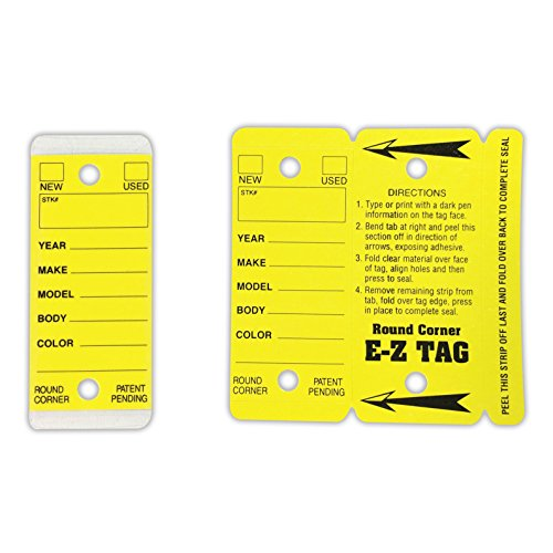 Automotive Key Ring Tags, Plastic Self Laminating Tags, Round Corner, Yellow, Box of 250 Photo #4