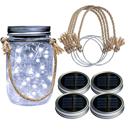 Homeleo 4 Pack Wide Mouth Solar Mason Jar Lid Lights w/Burlap Hangers, 20LED Cool White Solar Powered Mason Jar Firefly Light for Outdoor Decoration Summer Garden Yard(Jars Not Included) For Sale