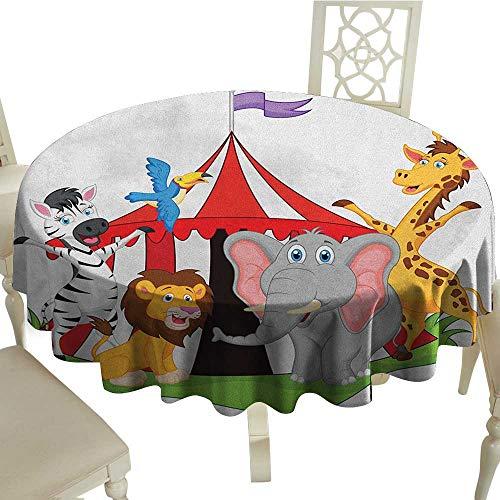 "longbuyer Circus Dinner Picnic Table Cloth Performer Acrobat Animals in Circus Tent Happy Giraffe Elephant Joyful Art Diameter 54"",Suitable for Kitchen, dustproof Desktop Decoration"