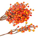 Factory Direct Craft Bundle of Fall Variegated Yellow and Orange Artificial Berry Picks for Holiday and Home Decor
