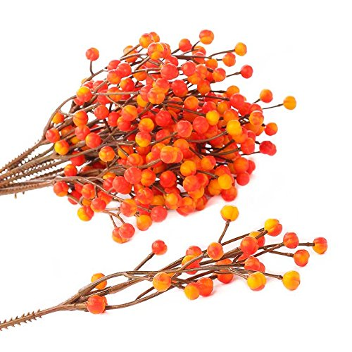 Fall Vases (Factory Direct Craft Bundle of Fall Variegated Yellow and Orange Artificial Berry Picks for Holiday and Home)