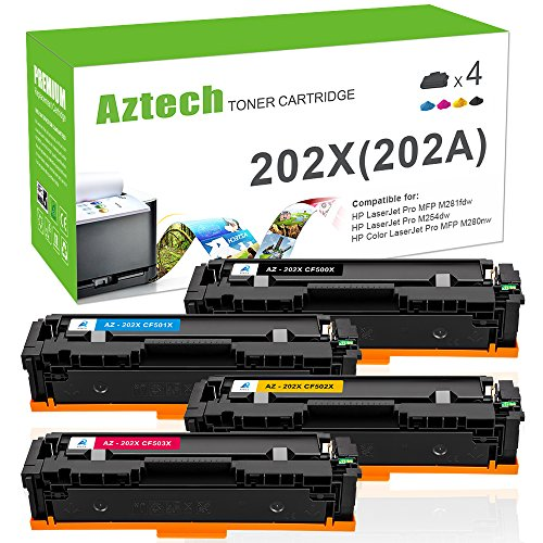 Aztech Compatible Toner Cartridge Replacement for HP 202A 202X CF500A CF500X CF501X CF502X CF503X (Black Cyan Yellow Magenta,4-Packs)