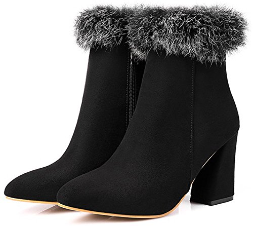 Easemax Women's Dressy Zip Up Pointy Toe Chunky High Heel Faux Suede Short Ankle High Booties Black qx6tC12ds