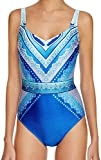 Gottex One Piece Swimsuit Illusion Belt Hourglass V-Neck Wide Strap Maillot 16 Blue