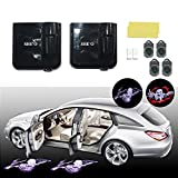 SHE'O® 1 pair 3D Open Arm Skeleton Ghost skull Wireless Magnetic car door LED logo projection projector welcome logo shadow ghost light+2pcs 3D bloody skeleton Logo slides