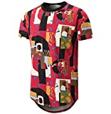 KLIEGOU Mens Hipster Hip Hop Ripped Round Hemline Camouflage T Shirt (05MC) (X-Large, red. Geometry)