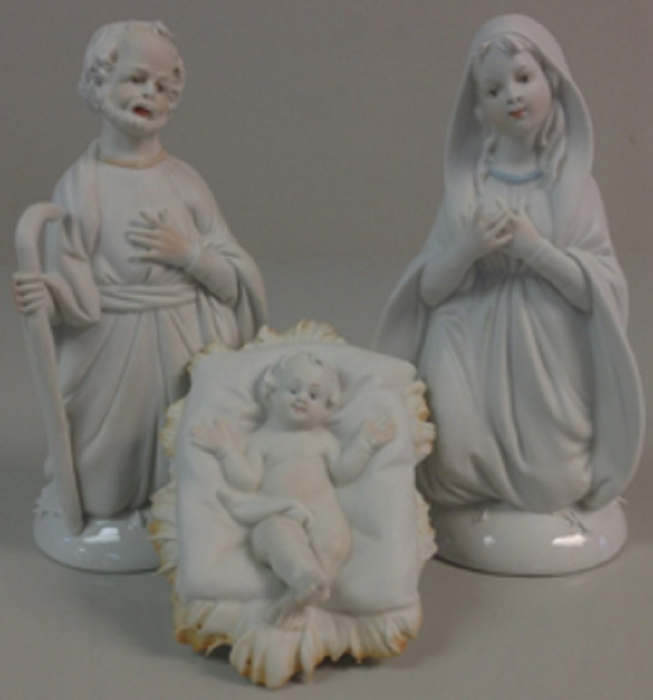 Porcelain Holy Family, lightly painted features, 3 pc's, 5.5 inches. Made in Italy.