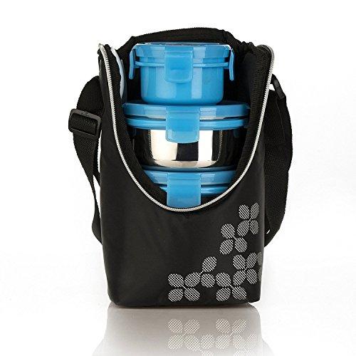 Cello Max Fresh Click Steel Lunch Box, 4 Conts, Blue