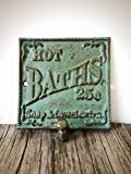 "Vintage Style ""HOT BATH"" Towel Hook Sign - Decorative Cast Iron Bathroom Organizer - Antique Green and Copper Patina"