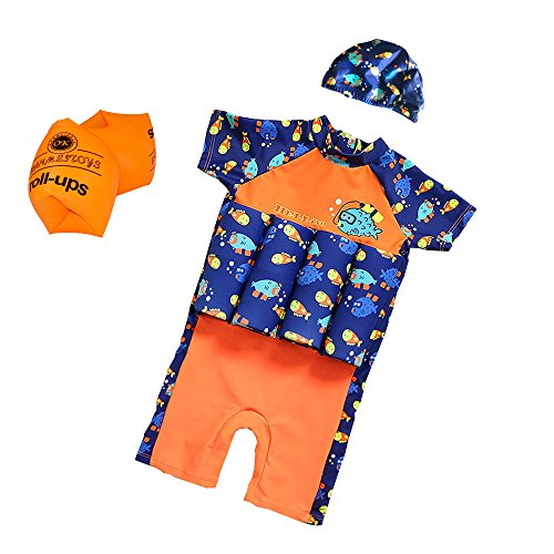(ESA Supplies Floating Swimsuits for Kids Toddlers, Orange and Blue Color with Swimming Cap and Inflatable Arm Ring, Medium)