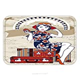 Flannel Microfiber Non-slip Rubber Backing Soft Absorbent Doormat Mat Rug Carpet Vector Of Chinese Vintage Lady Holding Her Passport Sits On Retro Grunge Travel Suitcase On Chinese 611490581 for Indoo