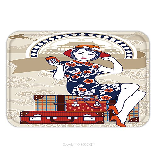 Flannel Microfiber Non-slip Rubber Backing Soft Absorbent Doormat Mat Rug Carpet Vector Of Chinese Vintage Lady Holding Her Passport Sits On Retro Grunge Travel Suitcase On Chinese 611490581 for Indoo by vanfan