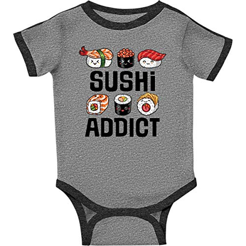 (inktastic - Sushi Addict Infant Creeper 24 Months Ringer Heather and Smoke 364f8)