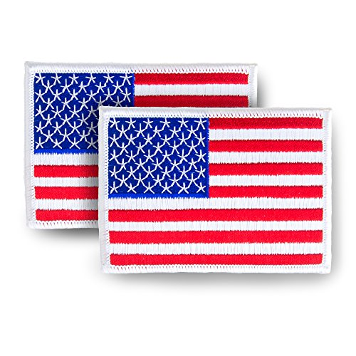 2 Pack USA US American Flag Embroidered Patch (white border) - 3.5