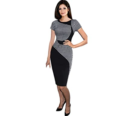TUDUZ Hot Women Elegant Short Sleeve Plaid Patchwork Business Dress Sexy Office  Bodycon Slim Pencil Dresses  Amazon.co.uk  Clothing daf677588
