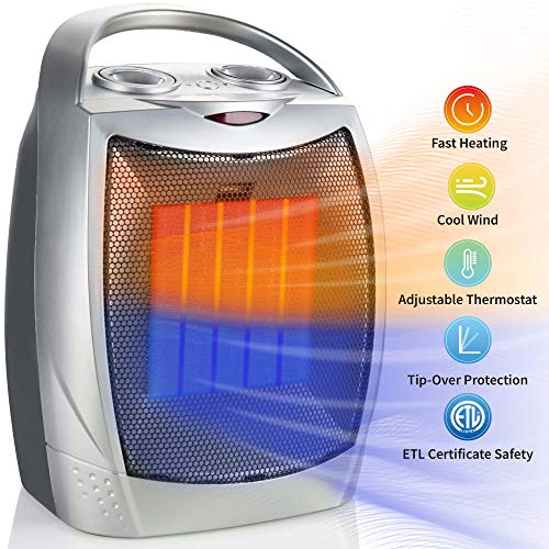 750W/1500W Ceramic Space Heater, Electric Portable Room Heater with Adjustable Thermostat and overheat protection for Home Bedroom or Office, ETL Listed